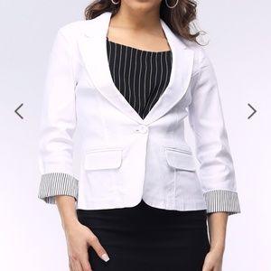 Papaya White blazer striped cuff one button blazer